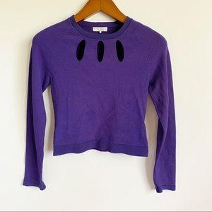 Parker Purple Key Hole Neck Long Sleeve Blouse